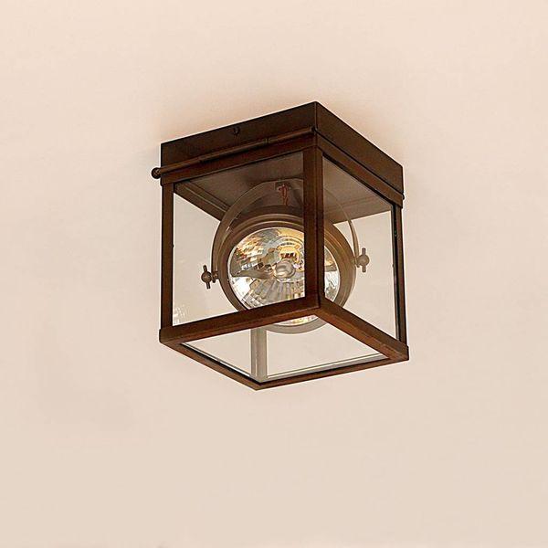 Spot plafonnier design rustique chic bronze verre
