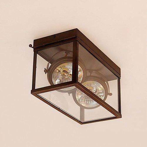 Plafondlamp 2 spots landelijk brons, glas