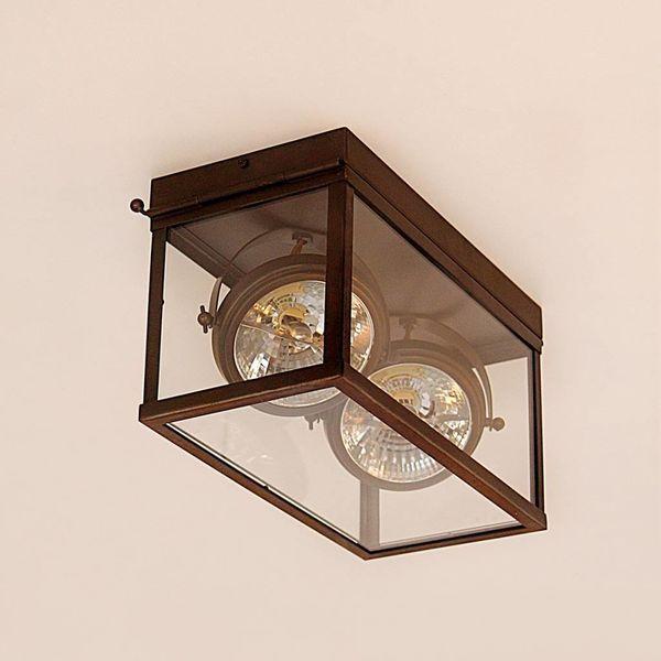 Plafonnier 2 lampes rustique chic bronze verre