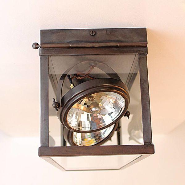 Plafonnier avec spots orientables rustique, verre, bronze