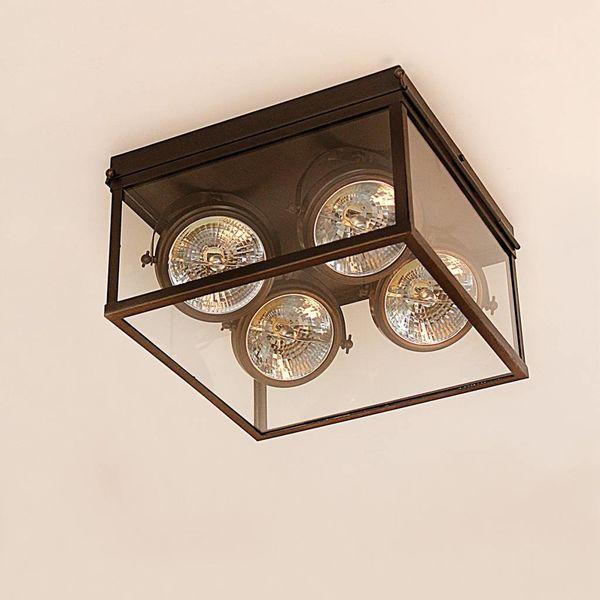 Luxe plafondlamp landelijk brons, glas 4 spots