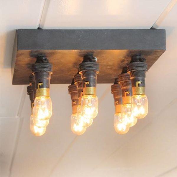 Plafonnier minimaliste rustique chic bronze carré