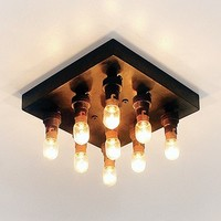Bijzondere plafonniere landelijk brons vierkant 9 lampjes