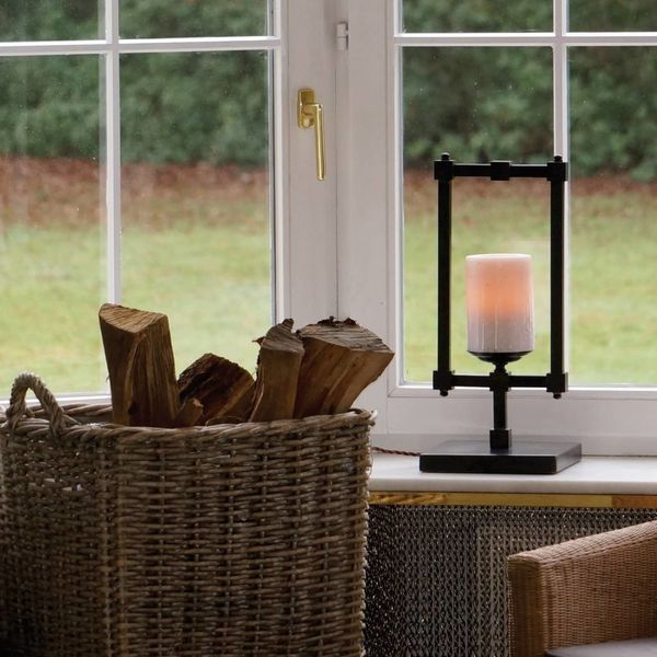 Design tafellamp landelijk LED kaars brons