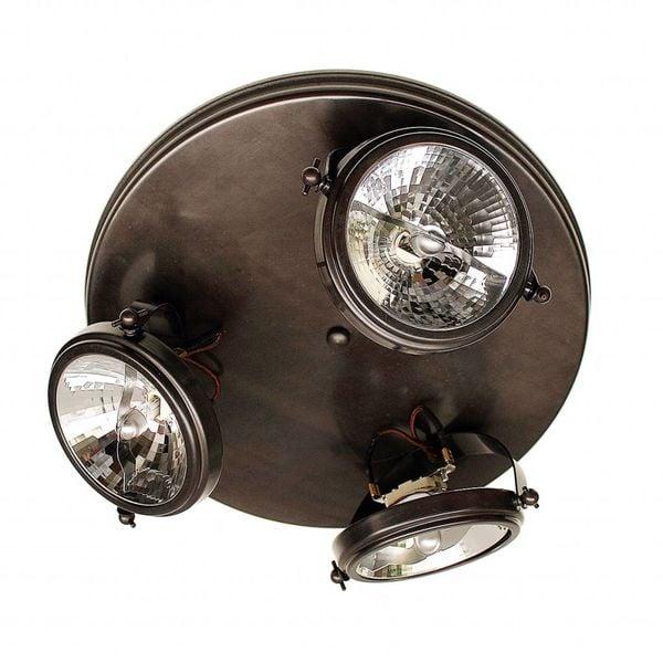 3 spots lamp landelijk brons rond plafond