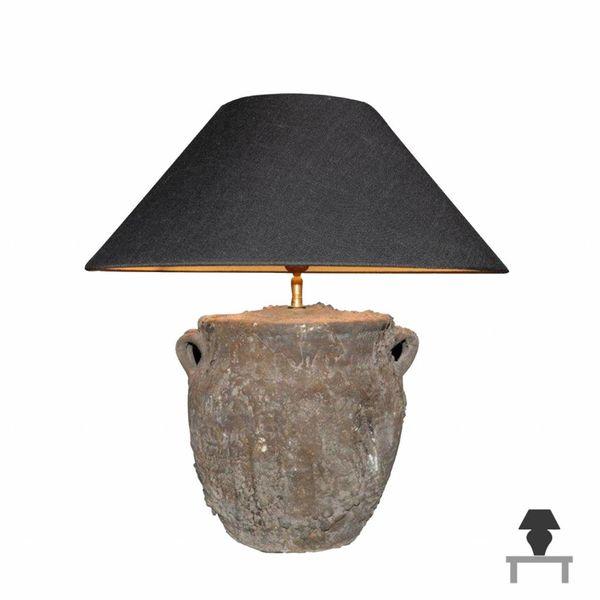 Lamp keramiek met lampenkap landelijk 60 cm hoog