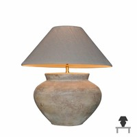 Keramische tafellamp met lampenkap landelijk 55 cm hoog