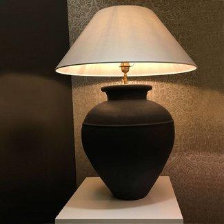 Stenen tafellamp landelijk met kap 78 cm hoog