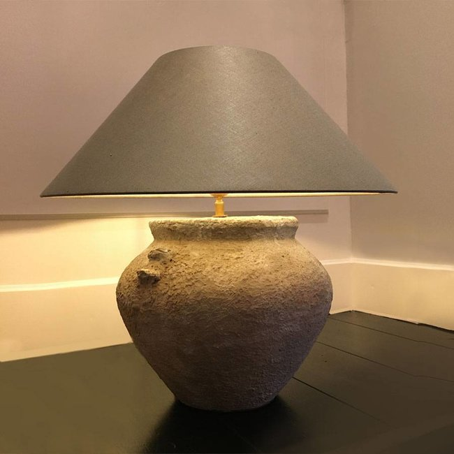 Lampe de chevet pied céramique avec abat-jour