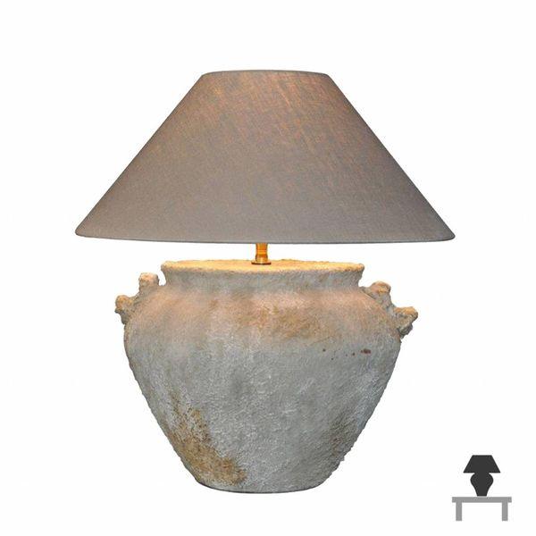 Tafellamp steen landelijk met kap 55 cm hoog