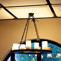 Suspension romantique bronze rond avec bougies LED
