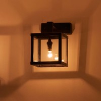 Petite applique muale lanterne rustique bronze, nickel, chrome