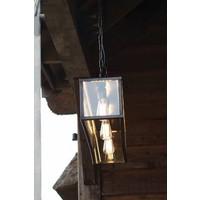 3 lichts hanglamp landelijk brons glas