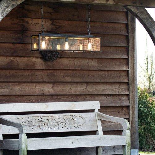 3 lichts hanglamp landelijk brons