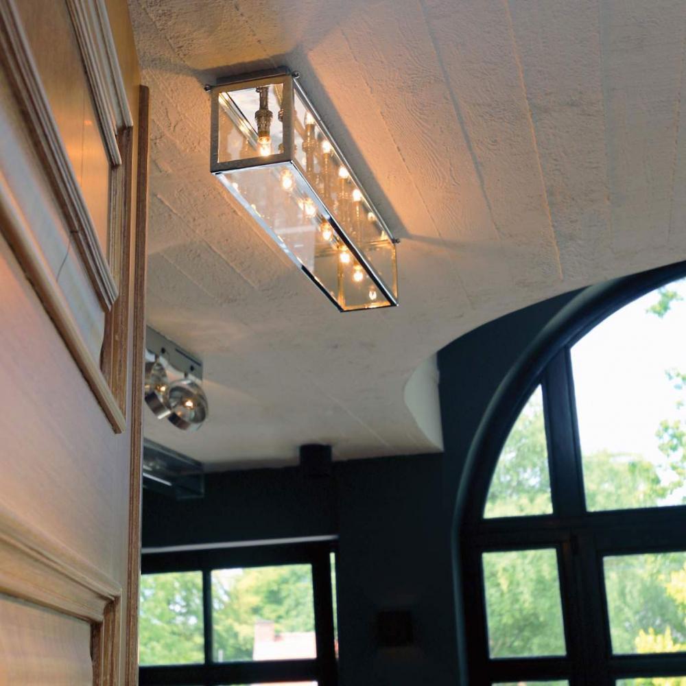 Plafondlamp met glas in brons