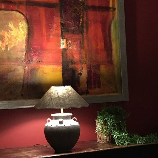 Lampe de table en céramique avec abat-jour