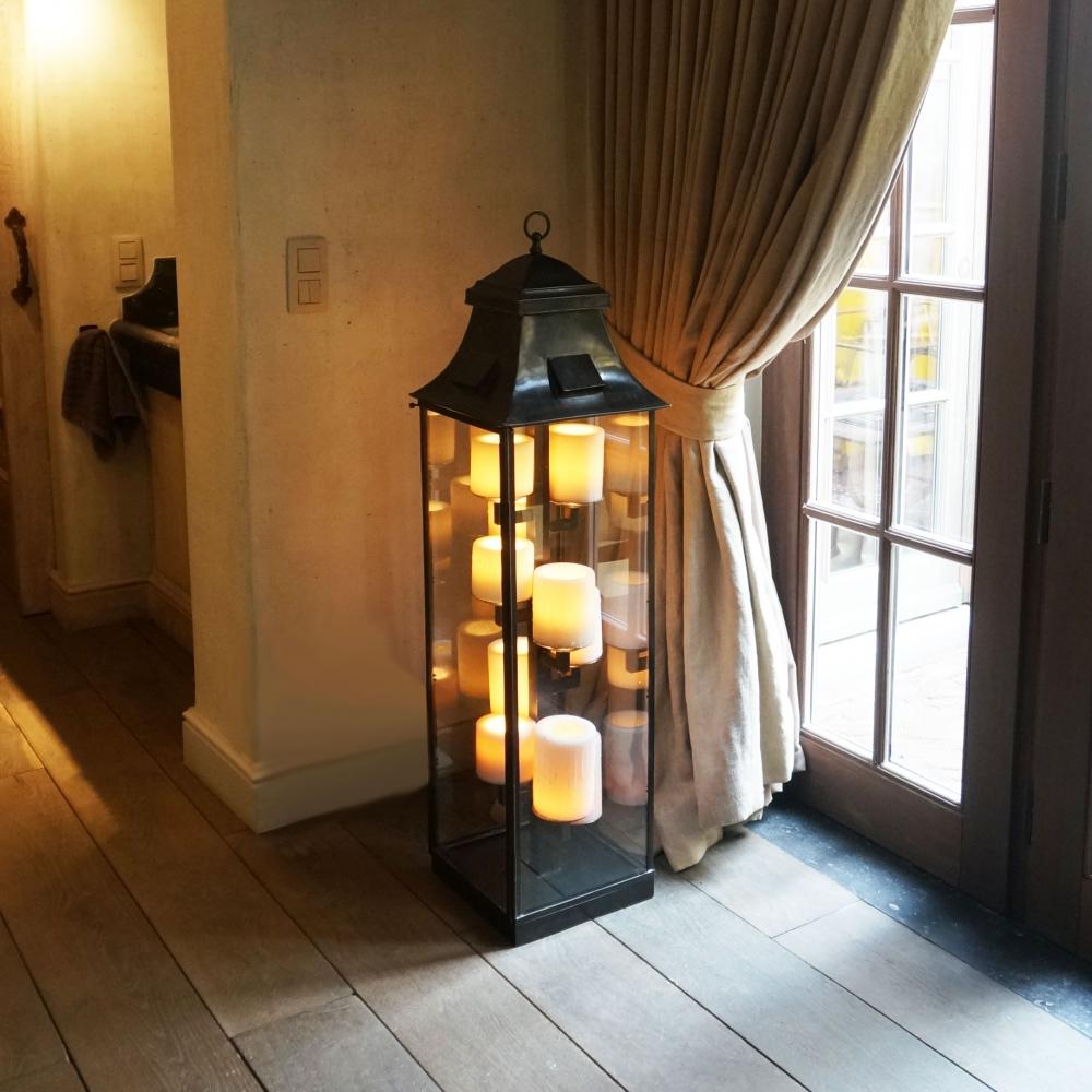 Bronzen vloerlamp met kaarsen landelijke stijl