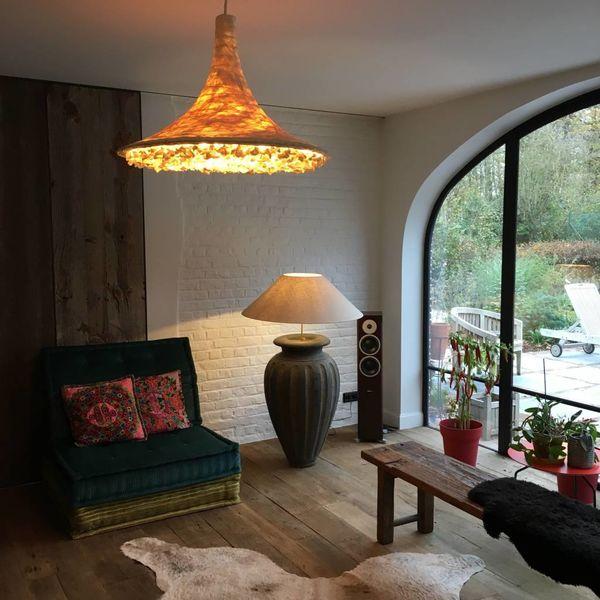 Aardewerk lamp met kap landelijk 120-133 cm hoog