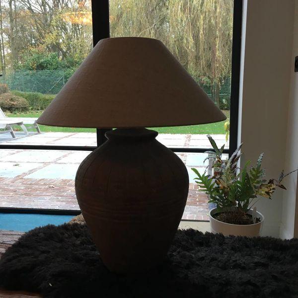 Lampe terre cuite avec abat-jour