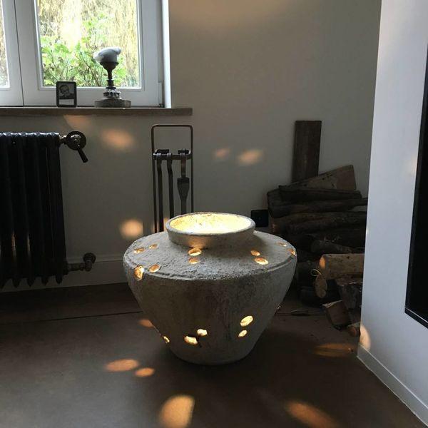 Lampe céramique ajourée