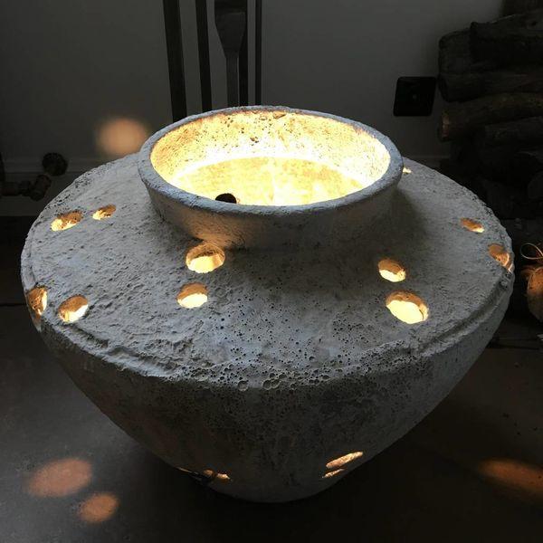 Aardewerk lamp met gaten 44 cm H