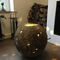 Lampe météorite céramique 54cm haut étoilé