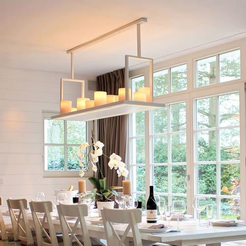 landelijke hanglamp met kaarsen