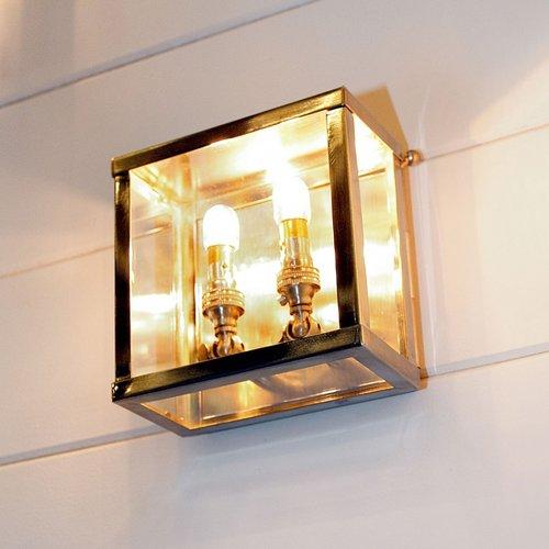 Petite applique rustique extérieur bronze, nickel, chrome, verre