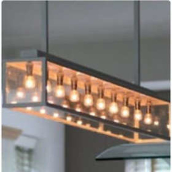 Lustre campagnard chic 1m bronze, nickel, chrome