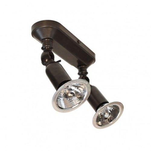 Plafonnier 2 spots orientables rustique bronze