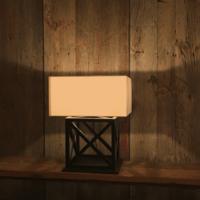 Lampe à poser bois avec abat-jour carré
