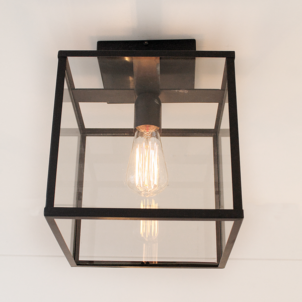 Plafonnier lanterne rustique verre, bronze, nickel, chrome
