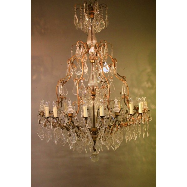 Grand chandelier pampilles bronze 16xE14