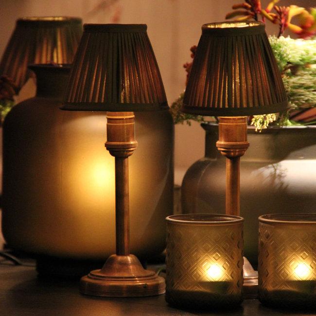 Lampe de table baroque bronze avec abat-jour
