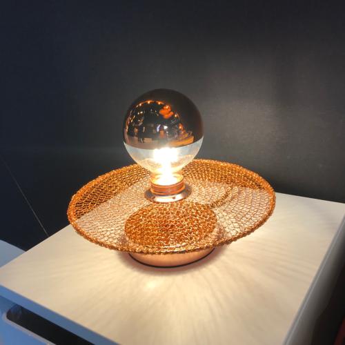 Lampe de chevet cuivrée diamètre 250 mm