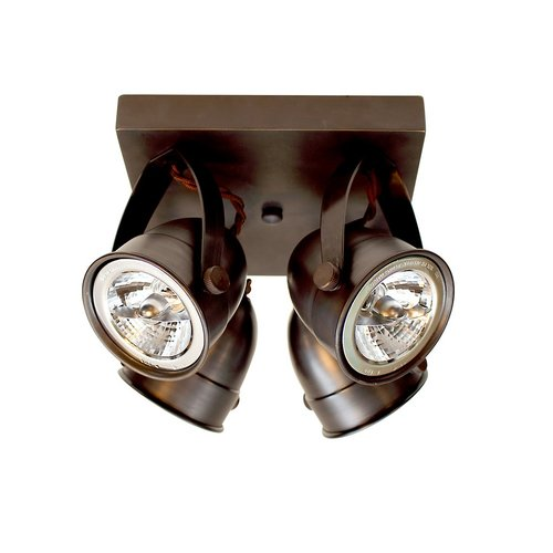 Plafonnier 4 spots orientables campagnard bronze, nickel, chrome