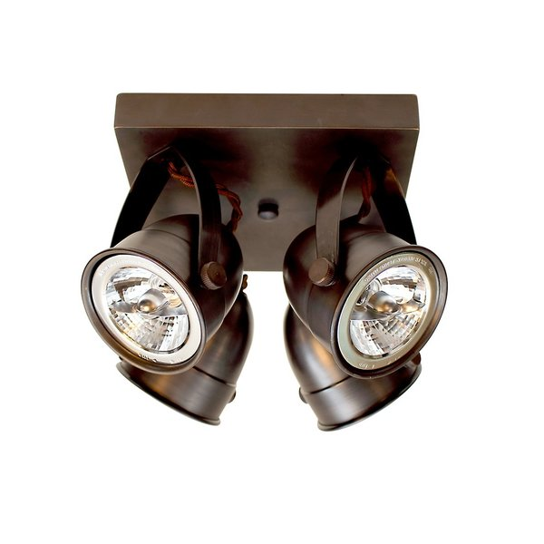 Plafonnier 4 spots orientables campagnard bronze, nickel, chrome