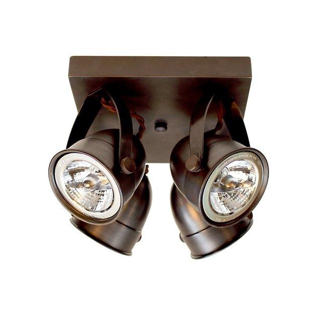 Plafondspot met 4 spots landelijk brons, nikkel, chroom