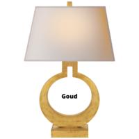 Ring tafellamp messing of goud met rechthoekige lampenkap messing