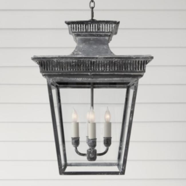 Lanterne baroque pour l'intérieur zinc altéré ou noir 4xE14