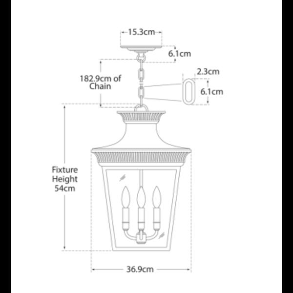 Lantaarnlamp voor binnen verweerd zink of zwart 4xE14