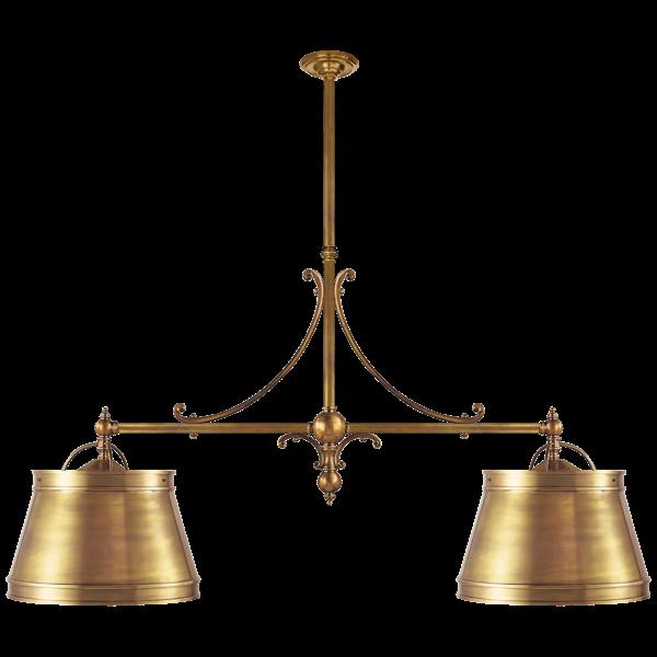 Hanglamp 2 lichts gepolijste messing sierlijk landelijk