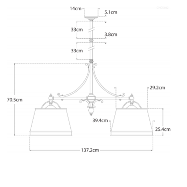 Suspension 2 lampes laiton poli élégant rustique