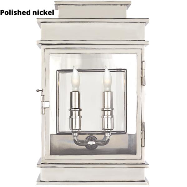 Applique murale lanterne laiton poli ou nickel poli