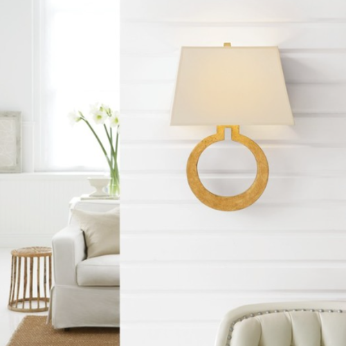 Wandlamp ring met kap messing, brons of goud