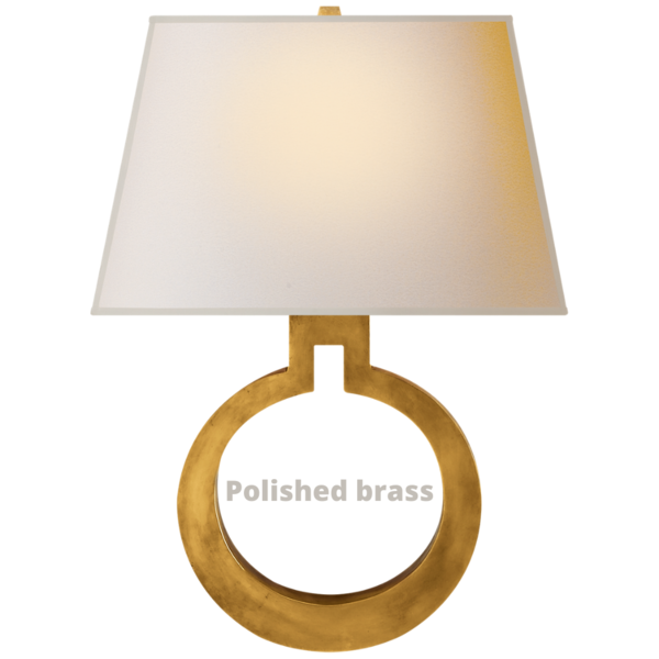Wandlamp ring met kap messing, brons of goud