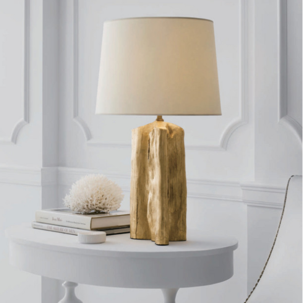 Mooie tafellamp goudkleur messing ovale lampenkap