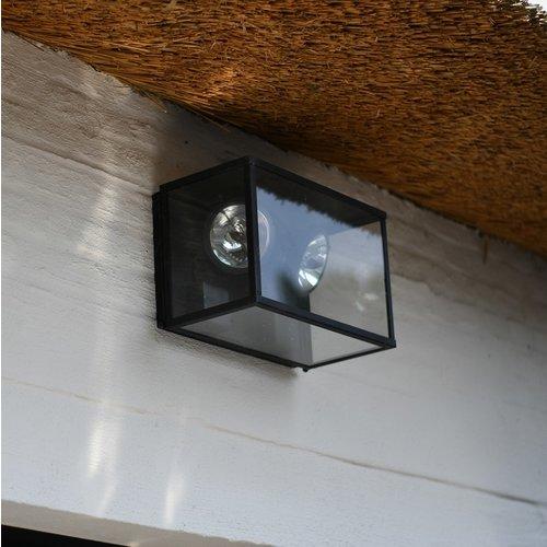 Dubbele wandspot landelijk buiten glas brons, nikkel, chroom