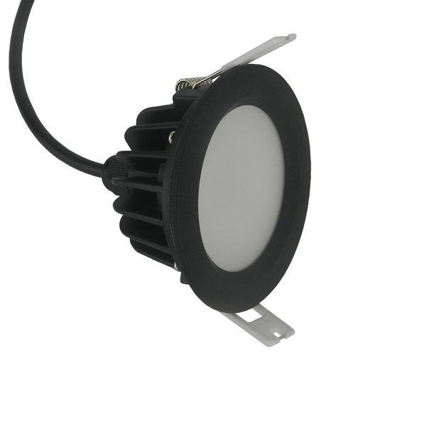 Inbouwspot badkamer zwart IP65 dimbaar geen trafo vereist rond