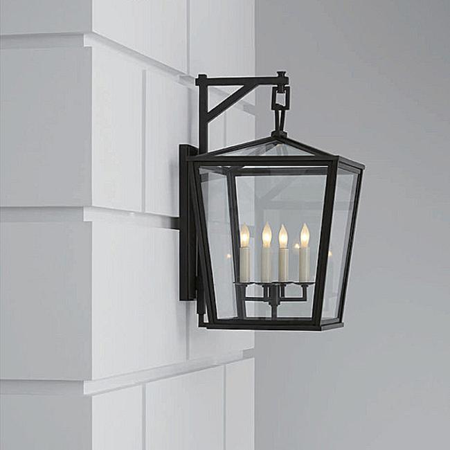 Applique extérieure lanterne bronze 4x lampe bougie